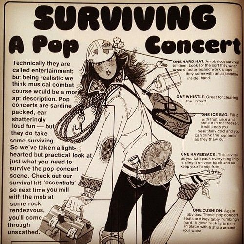 How to Survive a Pop Concert, Dolly magazine October 1976.