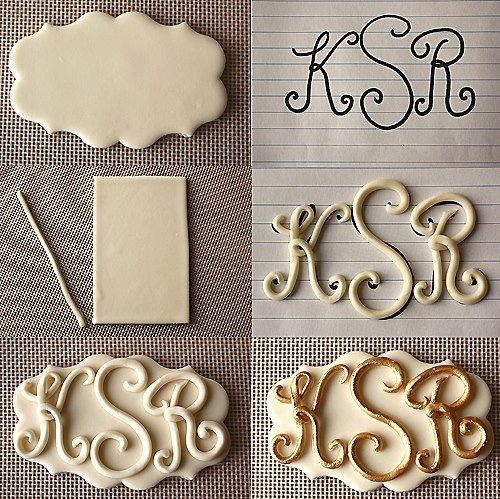 Fondant Letters OR make the fondant letters backward, let dry, then turn over and imprint monogram into cookie.  Pipe over imprint with icing!