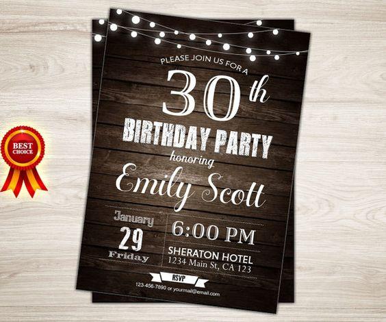 Surprenez 30 invitation d'anniversaire. Rustique par TopDigitalArt