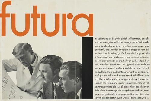 """Advertising flyer for futura font of Paul Renner, 1929. """"Eine Schrift von zuchtvoller Schönheit"""". Bauersche Giesserei, Frankfurt."""