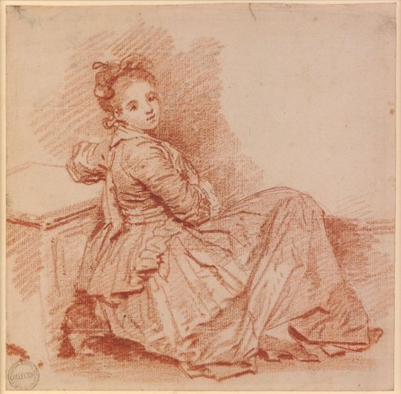 Fragonard - Study of a girl of the Sedaine family; WL figure seated on the ground to r with legs drawn up under her long dress, head turned and looking to front, leaning back on a low bench with her l arm Red chalk