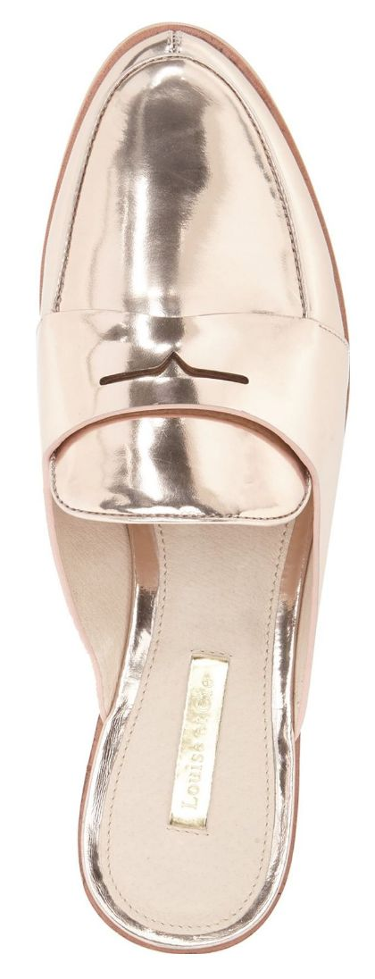 Chic metallic loafer mule