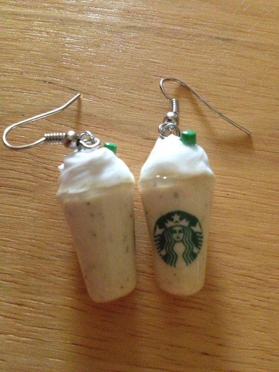 Starbucks Vanilla Bean Frappuccino earrings by bleaurose on Etsy, $9.00