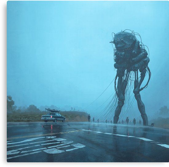 The Procession Canvas Print By Simon Stålenhag Scary Art Concept Art Creepy Art