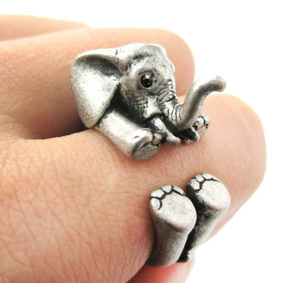 3D Baby Elephant Animal Wrap Around Ring in Silver   Size 5 to 8.5