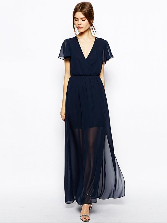 Navy V-Neck Short Sleeve Maxi Dress  Maxi Dresses  Pinterest ...