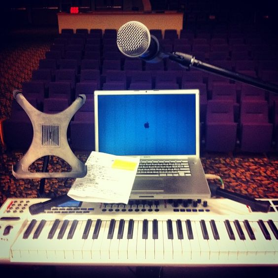Prepping to lead worship. Mac, Mainstage, Axiom Pro.