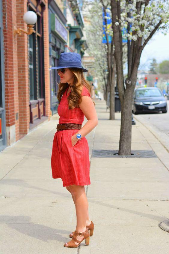 Summer Dresses    Where Chic Meets Comfort  @bananarepublic blue panama hat, @Naturalizer Draft sandals, @JUNIEBlake dress, @Skagen watch #summerstyle #ootd