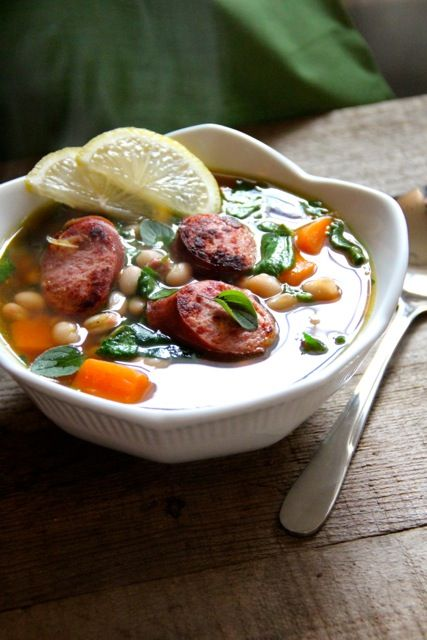 White Bean Soup with Spinach, Sweet Potatoes & Turkey Sausage