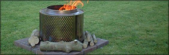 An old washing machine drum makes an excellent fire drum.