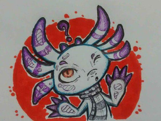 Sixpence, an original axolotl character