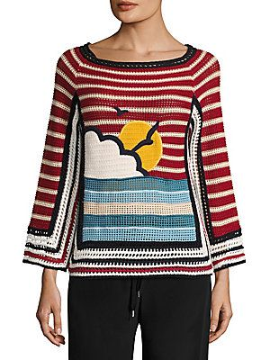 RED Valentino Beach Open-Knit Cotton Sweater