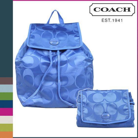 COACH SIGNATURE NYLON FOLDABLE BLUE BACK PACK PURSE HANDBAG