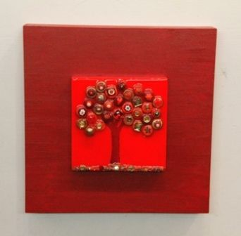 A Tree in red with gold accents - 12x12 inches: Creative Interest, Accents 12X12, Mixed Media, Trees, Clay Coated, Buttons Beads