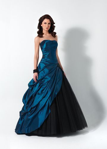Cheap Peacock Blue And Black Strapless Taffeta Drape Ball Gown ...