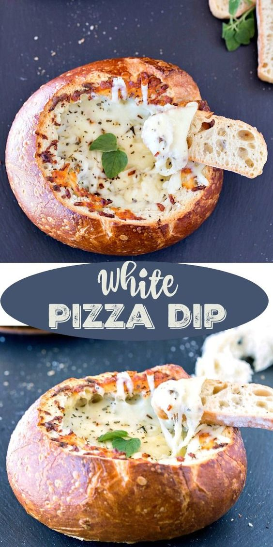 White Pizza Dip Recipe - this is a great party dip recipe for the holidays! Yum!