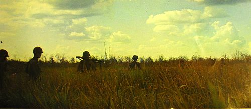 Skytroopers from the 2nd Battalion, 8th Cavalry, move through grass during a reconnaissance patrol in War Zone C.