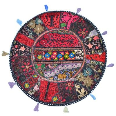 Black Elegant Round Recycled Patchwork Floor Cushion Cover
