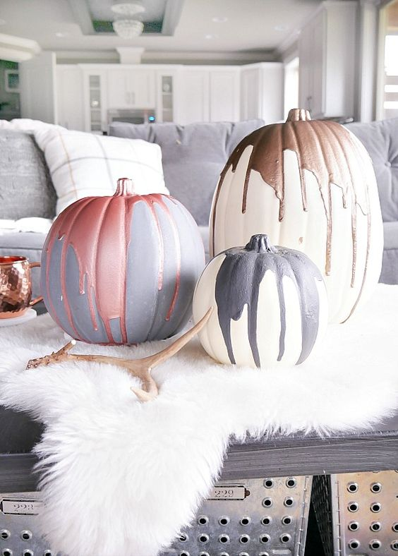 Modern Painted Pumpkins: