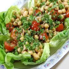 Make this filling Chickpea Salad as a brunch dish or for a light summer meal. 8 grams of protein and just 6 grams of fat. Unusual and delicious. #Salads #Recipes #Cooking: