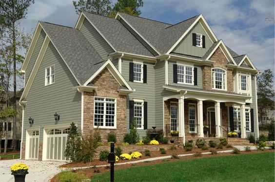 sage siding, white trim, stacked stone - Google Search