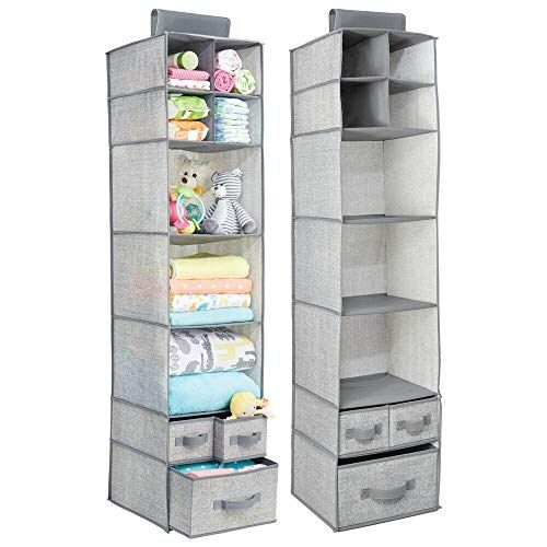 Lingerie mDesign Soft Fabric Over Closet Rod Hanging Storage Organizer with 7 Shelves and 3 Removable Drawers for Clothes Leggings Light Gray//White T-Shirts Polka Dot Print
