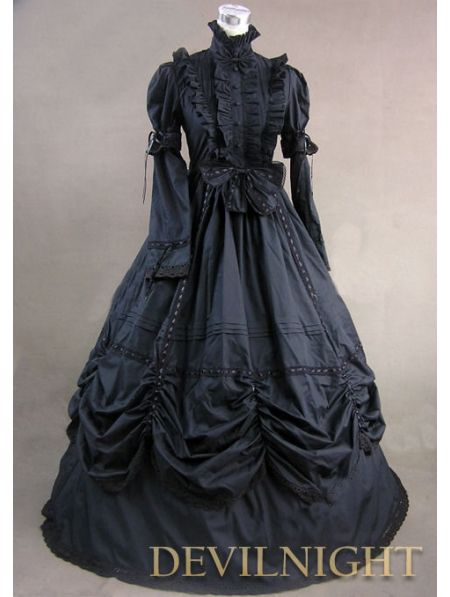 Black High Collar Classic -Gothic -Victorian Dress - how GORGEOUS ...