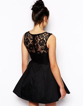 Enlarge Glamorous Skater Dress with Lace Top
