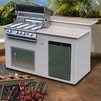 Calflame 4 Burner Gas Grill Island With Refrigerator See