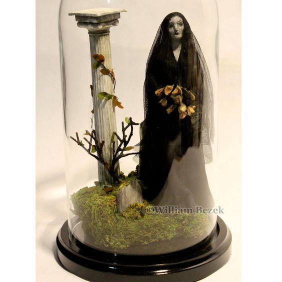 "Willim Bezek ""Memento mori"" Large glass dome Cemetery Halloween figure diorama. $225.00, via Etsy."