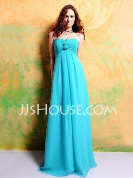 Empire Sweetheart Floor-Length Chiffon  Charmeuse Bridesmaid Dresses With Ruffle (007000927)