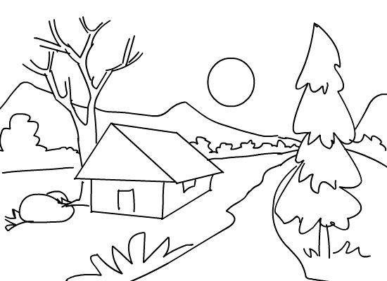 kids coloring pages scenery painting - photo#3