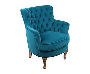 Poltrona in quercia e velluto Peony blu - 62x75x70 cm
