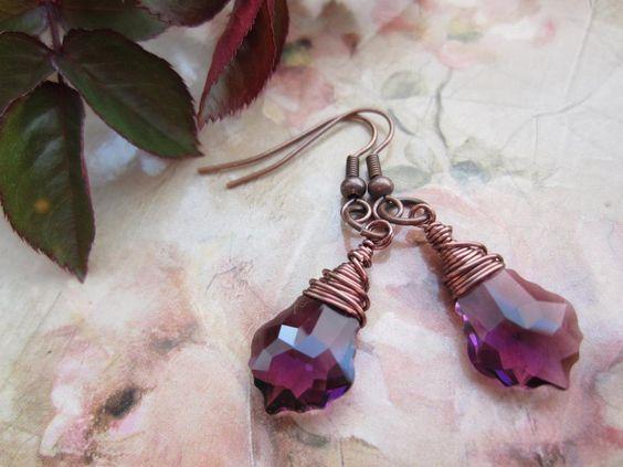 Swarovski Crystal Earrings, Wire Wrapped Jewellery, Drop Earrings,