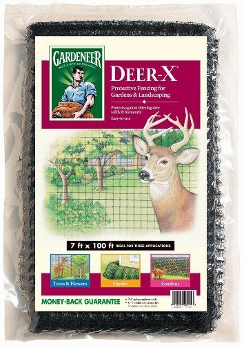 "Dalen Gardeneer 7-Foot x 100-Foot Deer-X Netting DX-7 by Dalen. $18.99. Drape around shrubbery, build vertical or slanted fence. 7-Foot x 100-Foot. Strong and durable 3/4"" mesh provides an easy and affordable alternative to metal chicken wire. 90 day warranty. Temporary fencing protects shrubs, trees, and vegetable gardens from destructive deer"