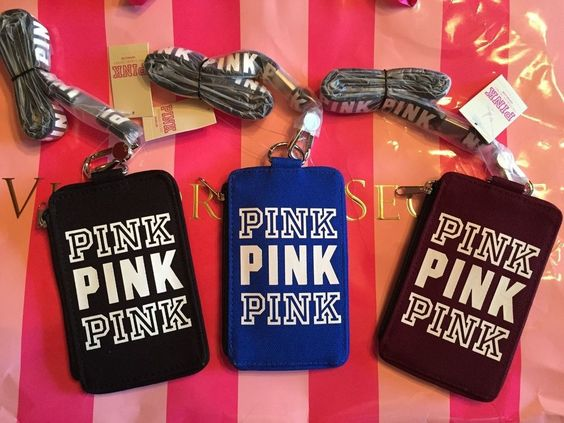 Victoria's Secret PINK Wallet ID case Holder Lanyard Ruby Blue Black NWT  #VICTORIASSECRETPINK