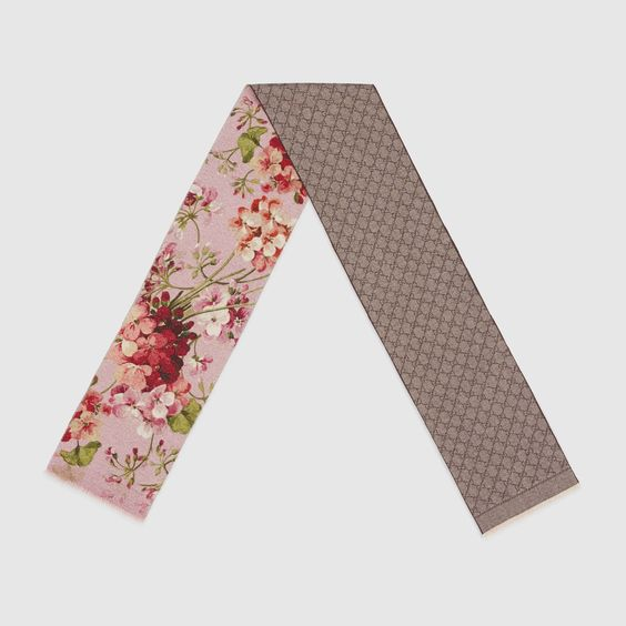 Gucci Women - Gucci Wool GG and Salmon Blooms print scarf  $385.00