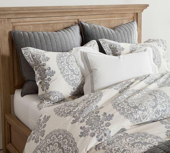Lucianna Medallion Percale Duvet Cover Shams Gray Bed Linen