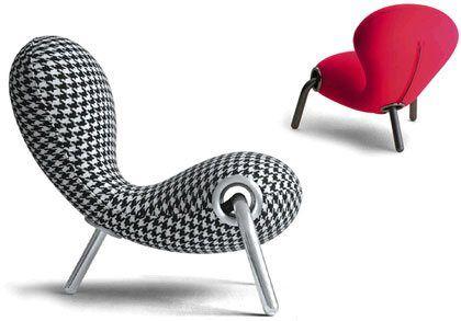 Fauteuil tripode de forme organique Embryo - Marc Newson design #ergonomique #minimaliste Forme organique et structure s'apparentant à la structure moelle+os