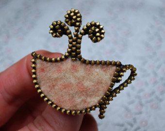 Cremallera/reciclado de fieltro lana suéter café taza cremallera Pin/broche