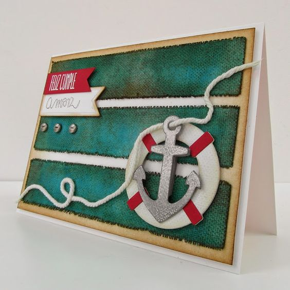 Masculine, nautical card with distressed canvas and die-cuts...
