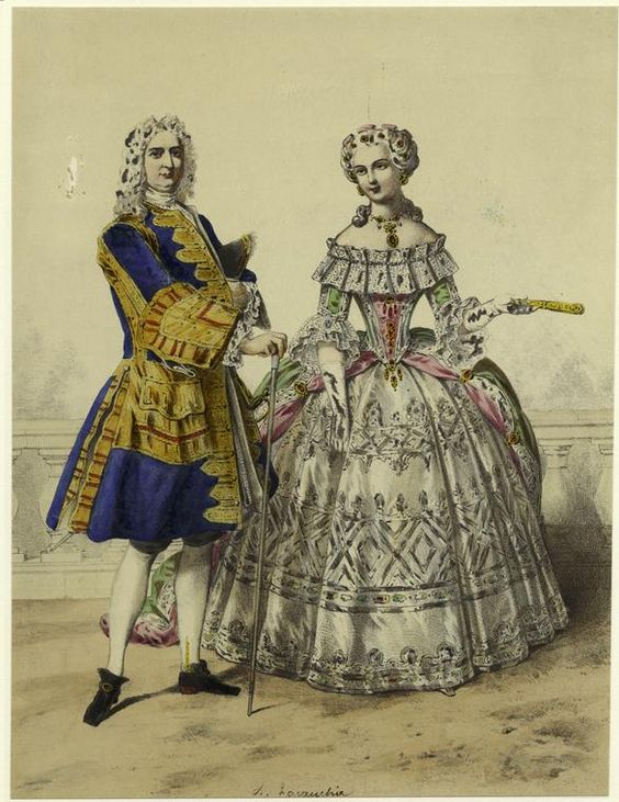 Poses. [French man and woman, eighteenth century.]