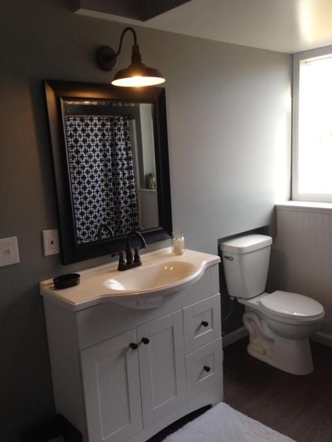 Our new grey half bath laundry Restoration Hardware barn