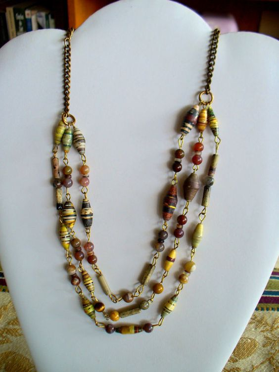 Multistrand Beaded Necklace by wonderbarrel on Etsy, $20.00