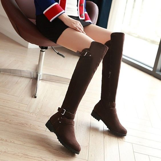 Fashion Faux Suede Womens Buckle Straps Zipped Flat Over Knee Riding Boots Shoes