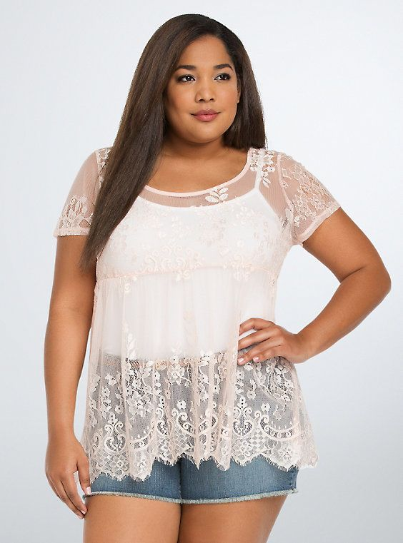 So cute. Lace Babydoll Top, PALE BLUSH