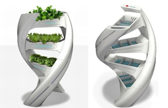 """""""Hydro G"""" is a hydroponic system for gardening in a room designed by Suany Aguilar."""