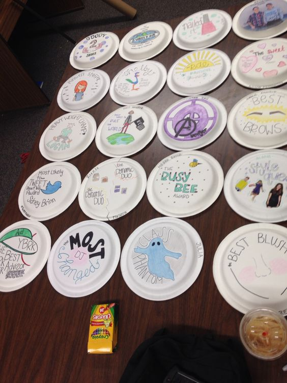 Paper plate awards for the end-of-year Yearbook banquet