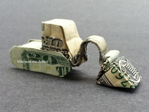 $20 bill Excavator - Money Origami - Dollar Bill Art: