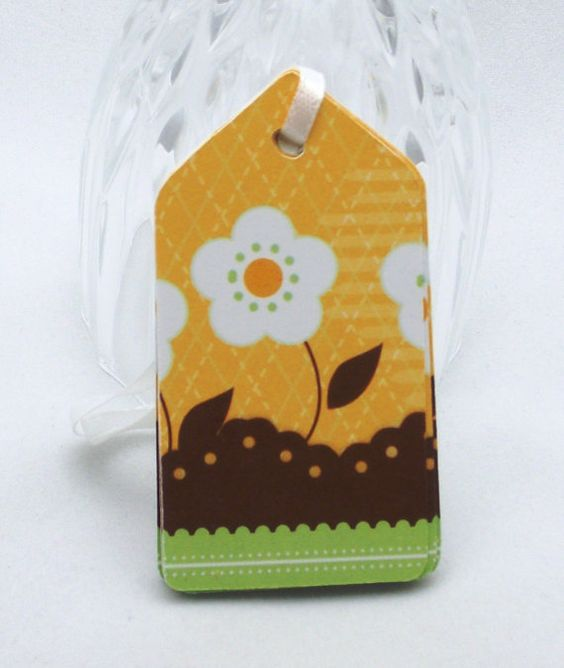 Handmade Scrapbooking Tags Flower Yellow Colored by Kookooforcards, $4.00